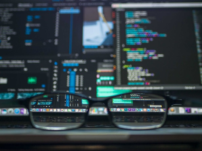 computer screen and eye glasses