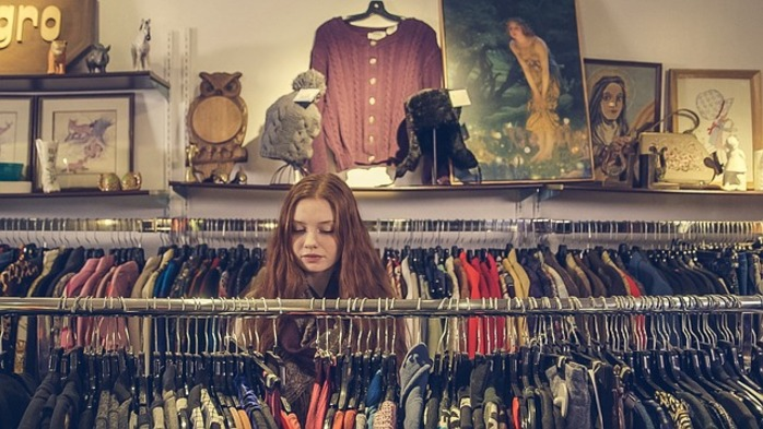 girl in thrift store