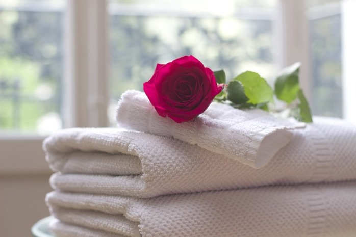 towel and rose