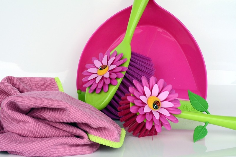 towel, dust pan and 2 scrub brushes  - Spring Cleaning Safety Tips